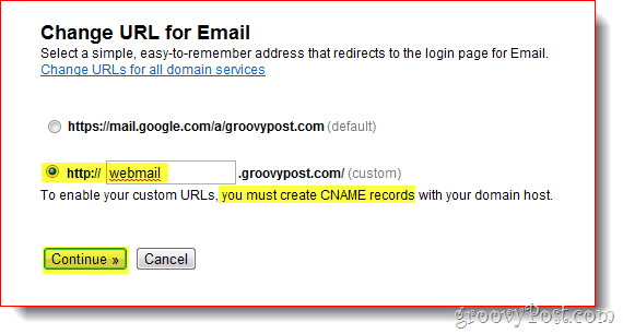 change email url google apps