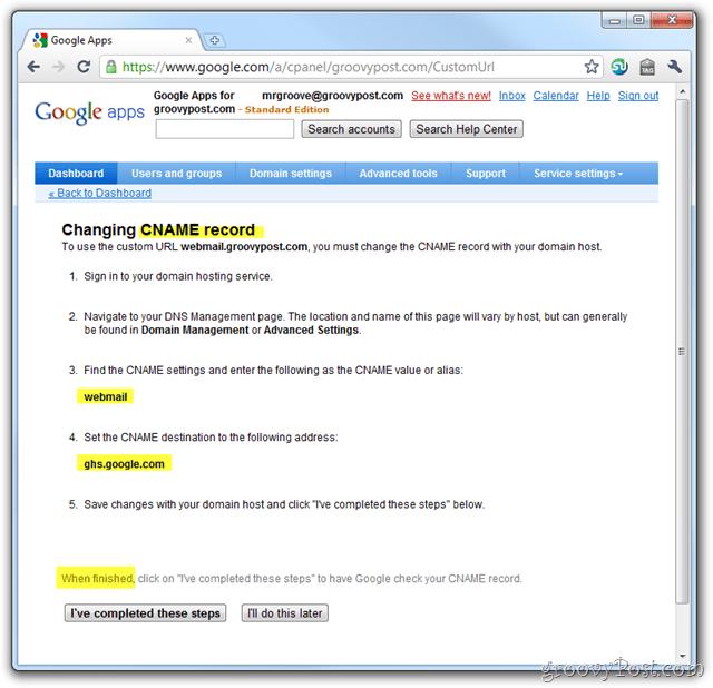 google apps email cname setup