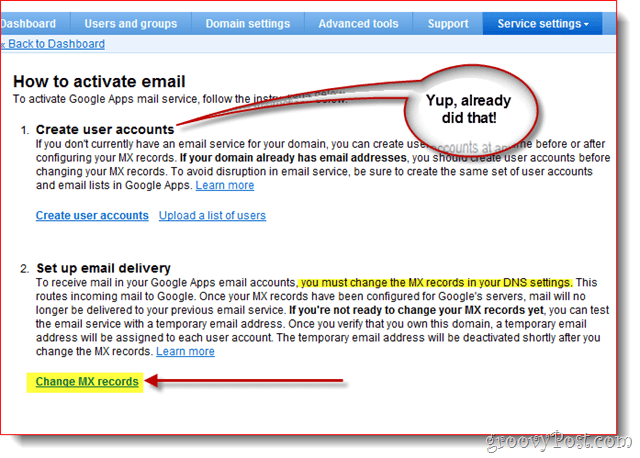 create new users set up mail delivery