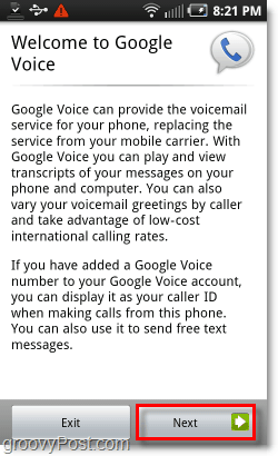 Google Voice on Android Mobile Welcome Screen
