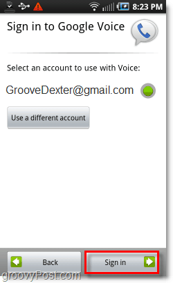 Google Voice on Android Mobile Sign-in