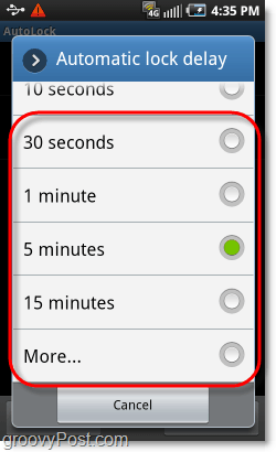 select android pattern lock time