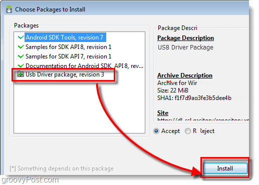 install android usb driver package