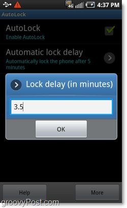 customize android pattern lock timer