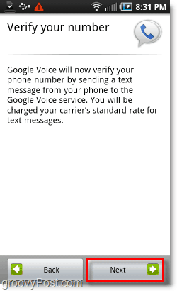 Google Voice on Android Mobile Config Verify Number