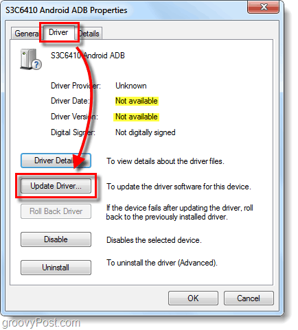 on driver tab click update driver