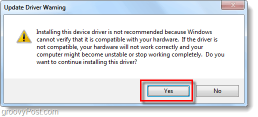 update driver warning, yes