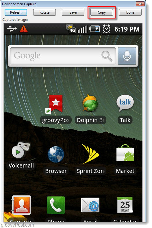 android screenshot captured on computer
