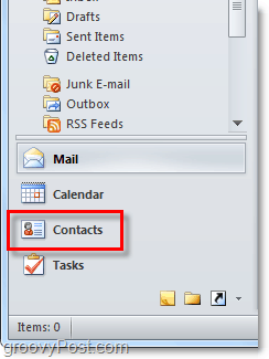 Access the contacts list in Outlook 2010