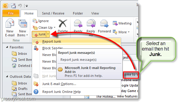 junk email reporting tool in outlook 2010