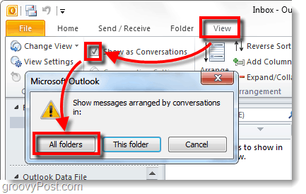 Show Conversation view in Outlook 2010