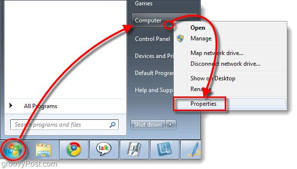 access my computer properties in windows 7