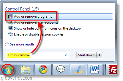 add or remove programs in windows 7