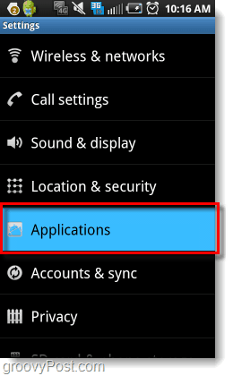 Settings > Applications on android