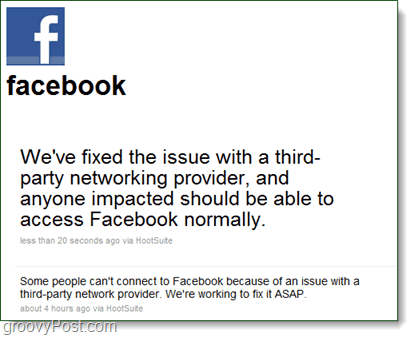 Facebook outage twitter message