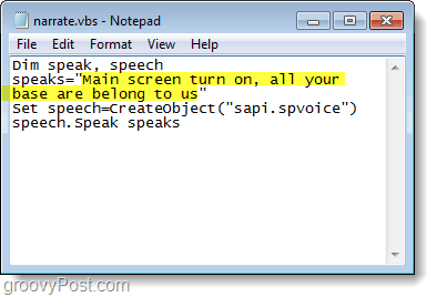 create narrator text in windows 7