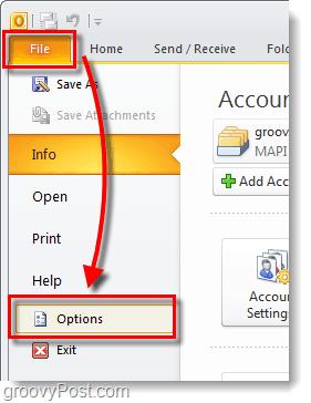 outlook 2010 options menu