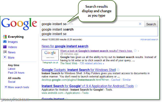 google instant search results appear as you type