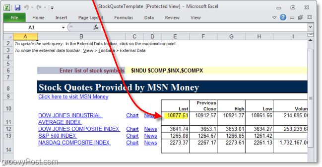 use web data in excel 2010 to track stock prices