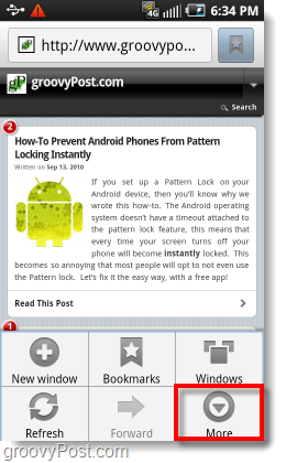 access the more menu on android browser