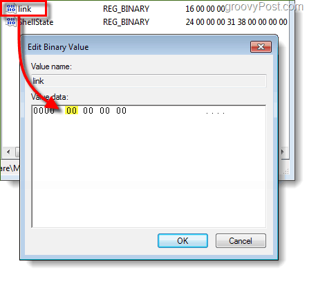 adjust registry values to 00 on second set of numbers