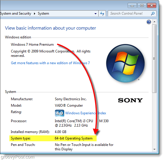 find 64-bit or 32-bit version of windows 7