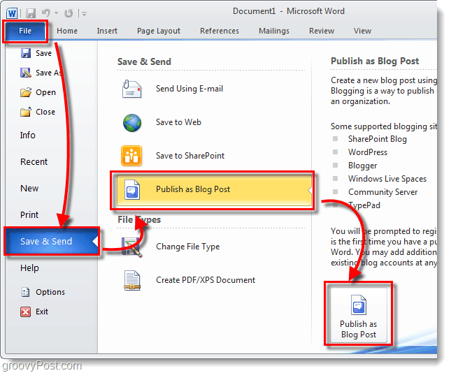 publish blog post with office 2010
