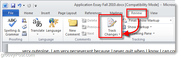 word 2010 track changes review