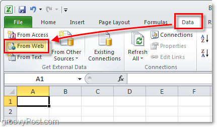 data from the web, get external data in excel 2010