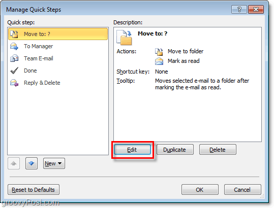 edit quick steps in outlook 2010