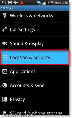 location and security menu android