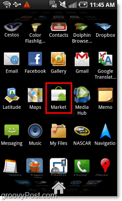 open the android market on your phone