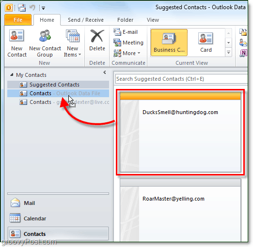 save suggested contacts in outlook 2010