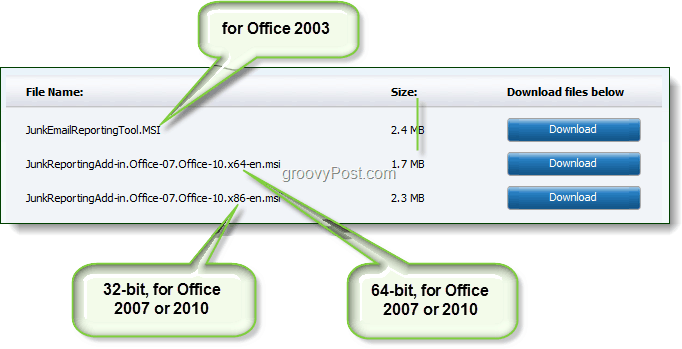 download junk email reporting tool for office 2003, office 2007, or office 2010