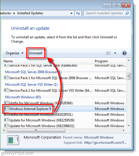 uninstall internet explorer 9 update