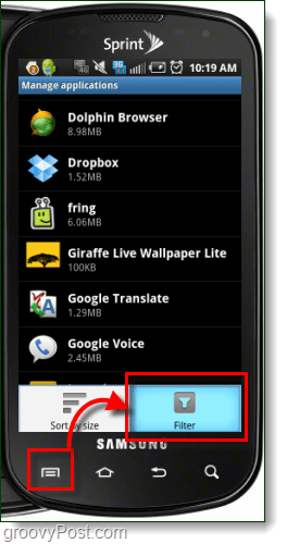 Filter manage applications android