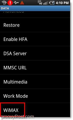 wimax advanced 4g phone settings