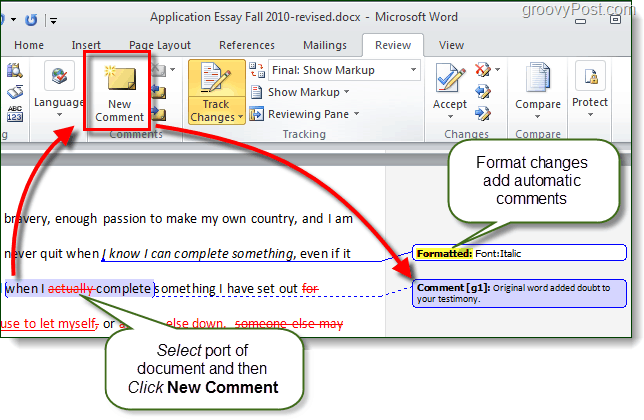 add comments in word 2010
