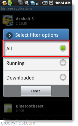 filter all android applications management