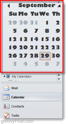 outoook 2010 date navigator big font