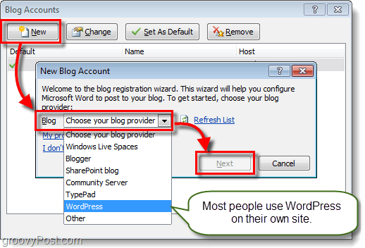 connect your blog to office 2010