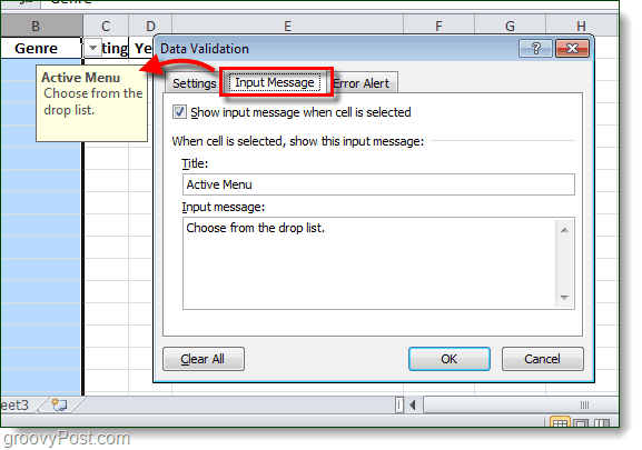 dropmenu excel 2010 pop-up alerts