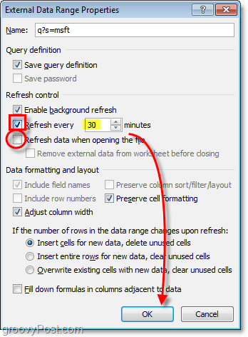 automatic data refresh in excel 2010