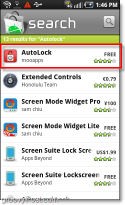 download autolock from the android market on your phone