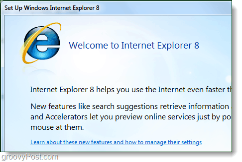 welcome to internet explorer 8