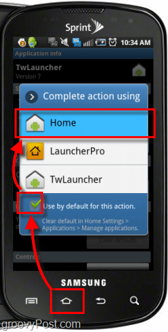 press home button and set home as default action