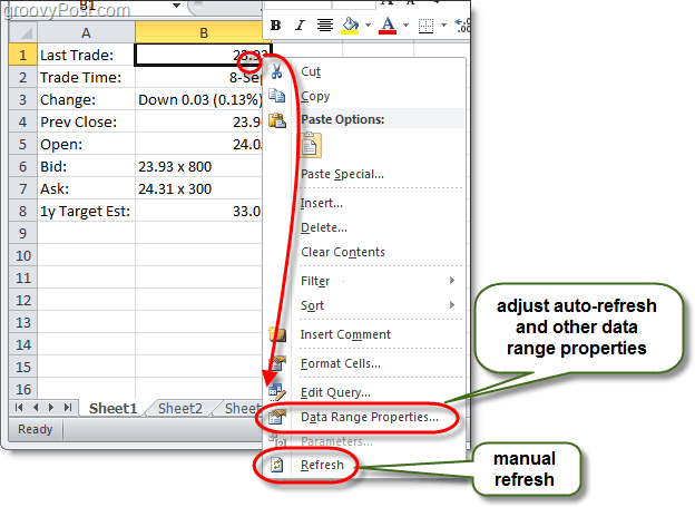 manual data refresh in excel 2010