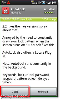 open the android autolock app