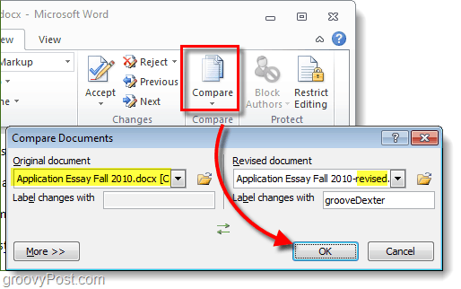 compare or combine office documents from 2010