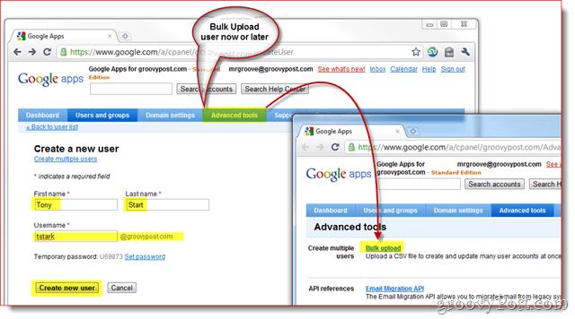 gooogle apps optional bulk upload